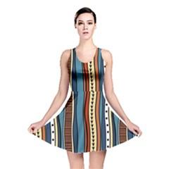 Stripes Hand Drawn Tribal Colorful Background Pattern Reversible Skater Dress