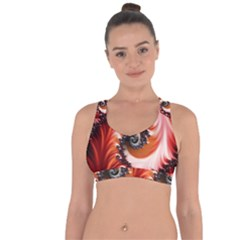 Abstract Fractal Patterns Red Cross String Back Sports Bra by Vaneshart