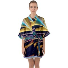 Lines Stripes Colorful Abstract Background Color Half Sleeve Satin Kimono