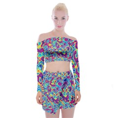 Ripple Motley Colorful Spots Abstract Off Shoulder Top With Mini Skirt Set by Vaneshart