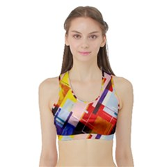 Abstract Lines Shapes Colorful Sports Bra With Border by Vaneshart