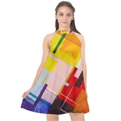 Abstract Lines Shapes Colorful Halter Neckline Chiffon Dress  by Vaneshart