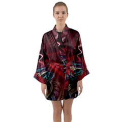 Patterns Red Abstract Long Sleeve Satin Kimono