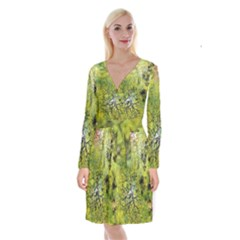 Abstract Spots Lines Green Long Sleeve Velvet Front Wrap Dress by Vaneshart