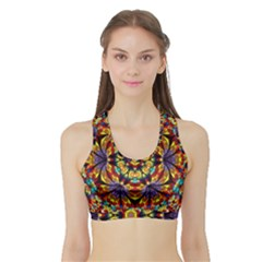 Geometric Pattern Kaleidoscope Art Mirror Image Mosaic Sports Bra With Border by Vaneshart