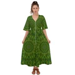Fauna Nature Ornate Leaf Kimono Sleeve Boho Dress by pepitasart