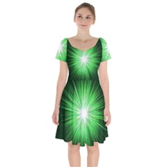 Green Blast Background Short Sleeve Bardot Dress by Mariart