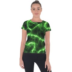 Lightning Electricity Pattern Green Short Sleeve Sports Top