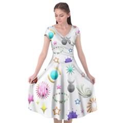 Shapes Stars Moon Sun Pattern Cap Sleeve Wrap Front Dress by AnjaniArt