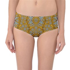 A Star In Golden Juwels Mid Waist Bikini Bottoms by pepitasart