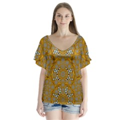 A Star In Golden Juwels V Neck Flutter Sleeve Top by pepitasart
