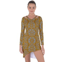 A Star In Golden Juwels Asymmetric Cut Out Shift Dress by pepitasart
