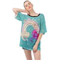 Sweet Pray Sweet Oversize Sheer Teal Chiffon Shirt by SweetPinkDreams