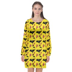 Bat Rose Lips Yellow Pattern Long Sleeve Chiffon Shift Dress  by snowwhitegirl