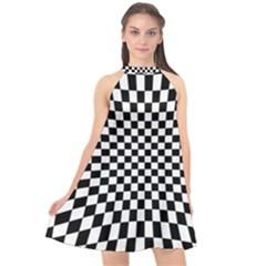 Illusion Checkerboard Black And White Pattern Halter Neckline Chiffon Dress  by Vaneshart