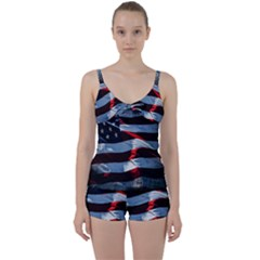 Grunge American Flag Tie Front Two Piece Tankini by Vaneshart