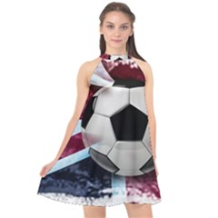 Soccer Ball With Great Britain Flag Halter Neckline Chiffon Dress  by Vaneshart