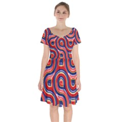 Pattern Curve Design Short Sleeve Bardot Dress