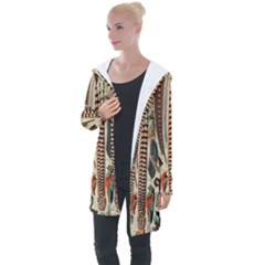 Feathers Birds Vintage Art Longline Hooded Cardigan by Vaneshart