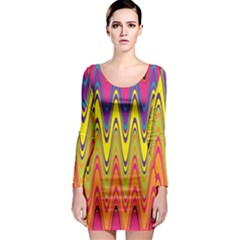 Retro Colorful Waves Background Long Sleeve Bodycon Dress