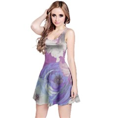 Floral Vintage Wallpaper Pattern Reversible Sleeveless Dress