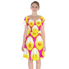 Pop Art Tennis Balls Short Sleeve Bardot Dress by essentialimage