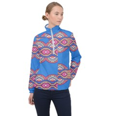 Shapes Chains On A Blue Background                                              Women Half Zip Windbreaker by LalyLauraFLM