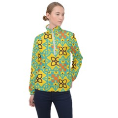 Flowers In Squares Pattern                                               Women Half Zip Windbreaker by LalyLauraFLM
