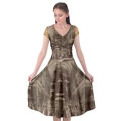 Illustrated Exhibitor Cap Sleeve Wrap Front Dress by DeneWestUK