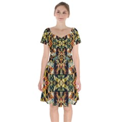Abstract 22 1 Short Sleeve Bardot Dress by ArtworkByPatrick