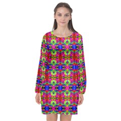 Abstract 28 Long Sleeve Chiffon Shift Dress  by ArtworkByPatrick