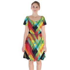 Pattern Colorful Geometry Abstract Wallpaper Short Sleeve Bardot Dress