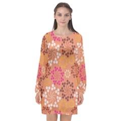 Abstract Seamless Pattern Graphic Pattern Long Sleeve Chiffon Shift Dress  by Vaneshart