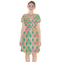 Abstract Seamless Pattern Short Sleeve Bardot Dress by Vaneshart