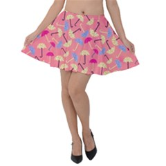 Umbrella Pattern Velvet Skater Skirt