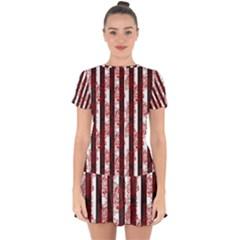 Striped Roses Pattern Drop Hem Mini Chiffon Dress by bloomingvinedesign