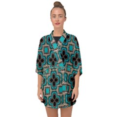 Seamless Wallpaper Pattern Half Sleeve Chiffon Kimono by Vaneshart