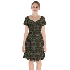 Seamless Pattern Background Short Sleeve Bardot Dress by Vaneshart