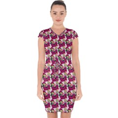 Thurs Pattern  Pink Capsleeve Drawstring Dress  by snowwhitegirl