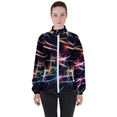 Lights Star Sky Graphic Night Women s High Neck Windbreaker by HermanTelo