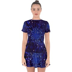 Star Universe Space Starry Sky Drop Hem Mini Chiffon Dress