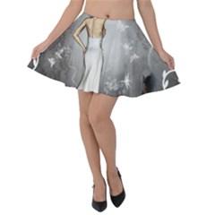 Wonderful Fairy With Butterflies And Dragonfly Velvet Skater Skirt by FantasyWorld7