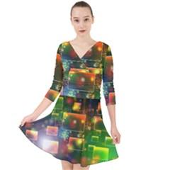Background Bokeh Light Circle Quarter Sleeve Front Wrap Dress