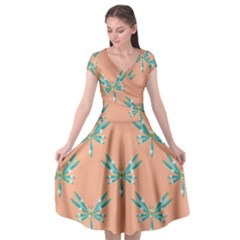 Turquoise Dragonfly Insect Paper Cap Sleeve Wrap Front Dress by Alisyart