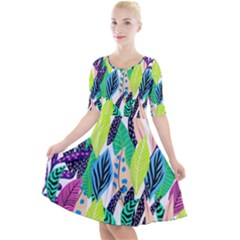 Leaves  Quarter Sleeve A Line Dress by Sobalvarro