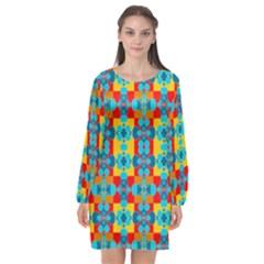 Pop Art  Long Sleeve Chiffon Shift Dress  by Sobalvarro