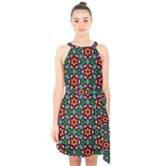 Pattern  Halter Collar Waist Tie Chiffon Dress by Sobalvarro