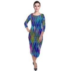 Background  Quarter Sleeve Midi Velour Bodycon Dress by Sobalvarro