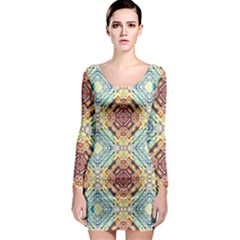 Pattern Long Sleeve Bodycon Dress by Sobalvarro