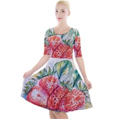 Strawberry Watercolor Figure Quarter Sleeve A Line Dress by Wegoenart